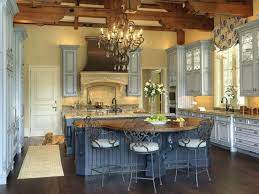 french country kitchen decorating with painted island french country kitchen decor with blue paint island also exposed