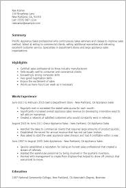 Controller Resume Examples by Professional Appliance Sales Templates To Showcase Your Talent