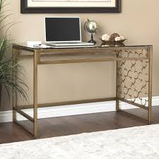 Quatrefoil Table L The Curated Nomad Quatrefoil Goldtone Metal And Glass Writing Desk