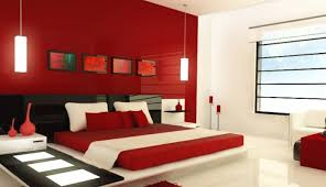 red color bedroom home design interior