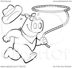cartoon clipart of a black and white rodeo pig running with a