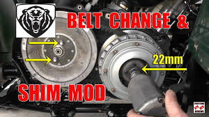 grizzly 700 drive belt change and shim mod install for more low