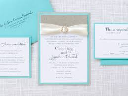 wedding invitations chicago rhinestone aqua turquoise silver glitter and satin ribbon