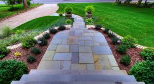 Front Of House Landscaping Ideas by Front Yard Landscaping Ideas With Fancy Cutting Stone Footpath