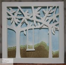 3d tree and swing shadow box wall decor table favor paper