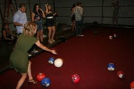 how big is a full size pool table you won t believe this life size backyard pool bowling tablegame