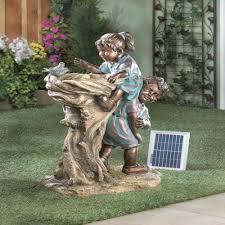 solar powered garden statues home design