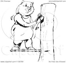 clipart black and white outlined wombat chopping wood royalty
