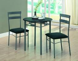 furniture round grey iron kitchen table with two chair using