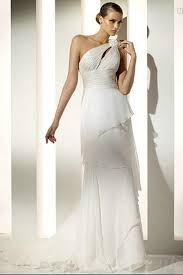 bargain wedding dresses uk buy cheap one shoulder flower trimed sheath chiffon layer