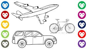 how to draw and paint cute car aeroplan bycicle for baby
