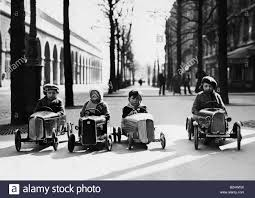 small cars black people children four little boys in soapboxes 1936 1930s 30s