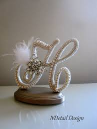 pearl monogram cake topper wedding cake toppers picmia
