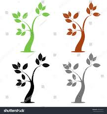 four simple tree stock vector 254440843
