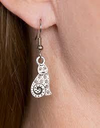 cat earrings get smiles wearing silver cat earrings