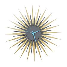 furniture charming cream and grey starburst wall decor with clock