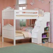 white bunk beds with stairs drawers on white tile floor matched
