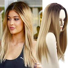 wigs for thinning hair that are not hot to wear amazon com long straight hair two tone black and blonde ombre wig