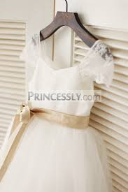 satin sash cap sleeves ivory lace tulle flower girl dress with chagne