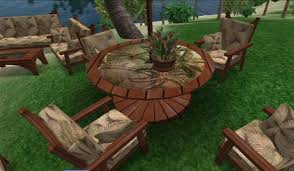 Redwood Patio Table Second Life Marketplace 10 Piece Southwind Redwood Outdoor
