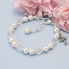 crystal pearl bracelet swarovski images Little blessing baptism baby bracelet with white pearls and clear jpg