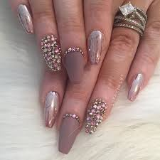 rose gold chrome matte stones nail art u2026 pinteres u2026