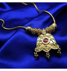 Buy Designer Gold Plated Golden Buy Gold Plated Chain With Red Bead Pendant Online Kollam Supreme