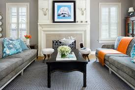 gray sofa living room living room transitional with blue pillows