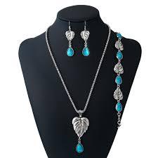 turquoise necklace sets images Turquoise feroza stone leaves bracelet earrings necklace set jpg
