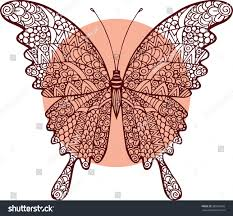 vector doodle abstract outline decorative butterfly stock vector
