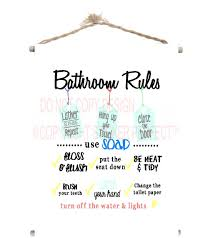 cute sayings for home decor canvas banner bathroom rules cute kids with wood dowel rods