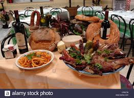 italian thanksgiving dinner typical italian food pasta red wine stock photo royalty free