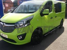 vauxhall black vauxhall vivaro fitted with four step side bars and wolfrace