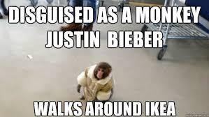 Ikea Monkey Meme - disguised as a monkey justin bieber walks around ikea look at me