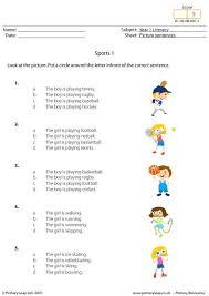 primaryleap co uk picture sentences sports 1 worksheet
