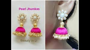 thread earrings easy and simple pearl silk thread earrings tutorial model for