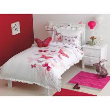 Twin Duvet Cover White Maholi Fly Butterfly Collection 200 Thread Count Polyester Cotton