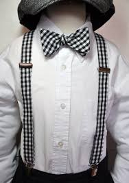 suspenders boys bowtie set black and white gingham any color