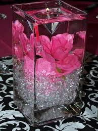 Black And Silver Centerpieces by With A Red Rose Diamond Candle And Then An Led Light At The