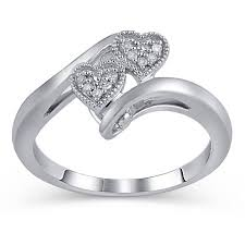 Walmart Jewelry Wedding Rings by Diamond Accent Sterling Silver Double Heart Promise Ring Walmart Com