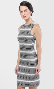 stripe knee length dress in white fashionvalet