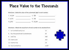 place value standard form worksheets place value to the thousands place printable worksheet with answer
