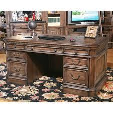 Double Pedestal Desk With Hutch by Parker House Aria Library Double Pedestal Executive Desk Antique