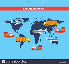 World Map Cartoon by World Map With Cargo Vehicles Over Blue Background Export And