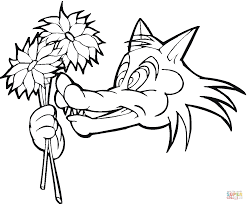cartoon wolf with flowers coloring page free printable coloring