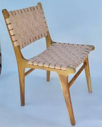 set of six flora dining chairs with leather strap haskell antiques