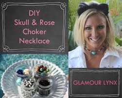 diy easy choker necklace skull and rose halloween glamour lynx