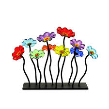 glass flower garden centerpiece flower art unique centerpiece