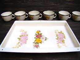 new vintage enamel tray and 6 mugs retro enamelware rustic camping