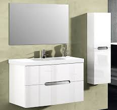 abella 40 inch modern white finish bathroom vanity set solid oak wood
